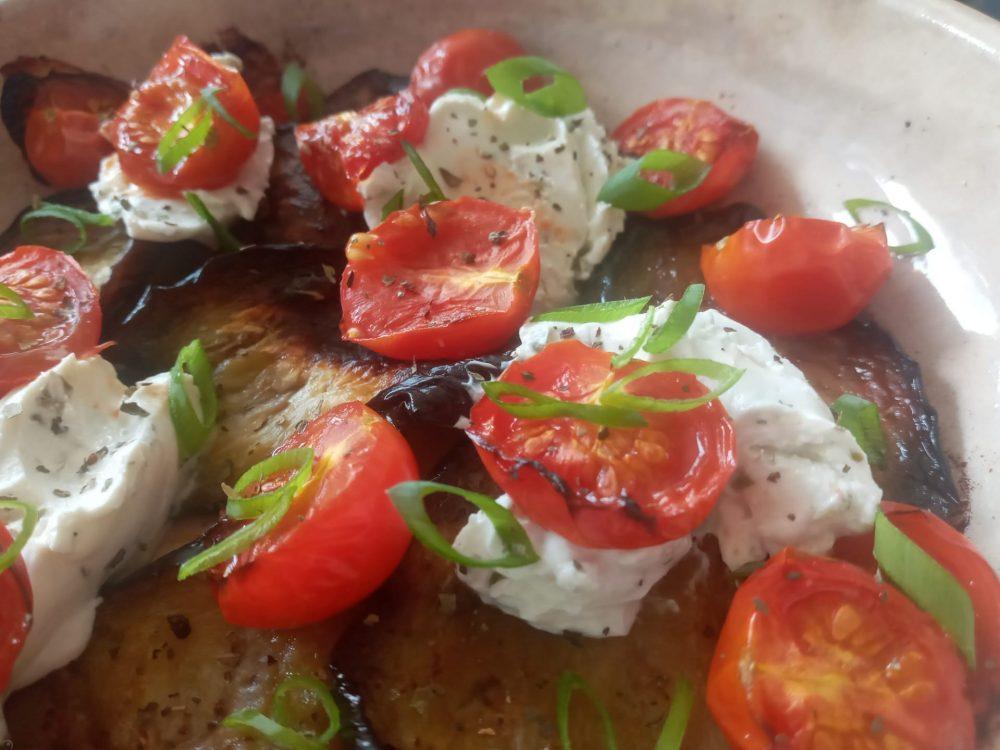 gegrilde aubergine met ricotta